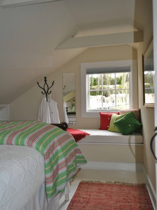 traditional bedroom ideas green. Interesting Green Traditional Attic Bedroom With Bay Window Seat Also Red Green And  Light Cushions For Ideas