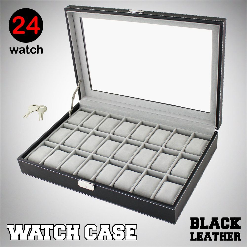 Large 24 Mens Watch Display Case Box Black Leather Glass Top Jewelry