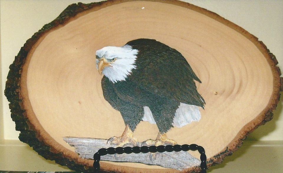 Melody Mead had bass wood animal painting available at Main Street Artisan's Co-op. This eagle is just one example of what is available at the store. The bass wood animal paintings run from $25.00 - $50.00. Melody also paints on slate and has pottery available at the shop.