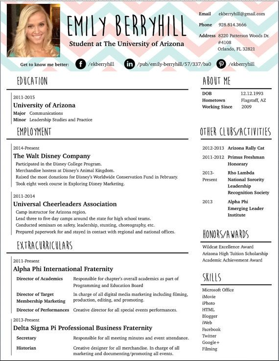 Elegant Custom Creative Resume · Creative Resume DesignCreative CvDisney College  ProgramJob ... Design