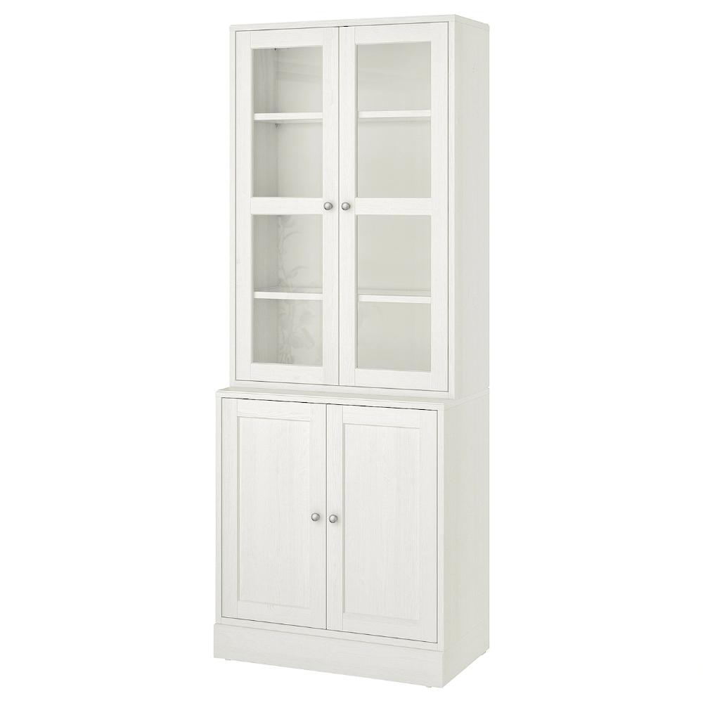 Havsta Storage Combination W Glass Doors White Ikea Ireland In 2020 Glass Cabinet Doors Bookcase With Glass Doors Ikea