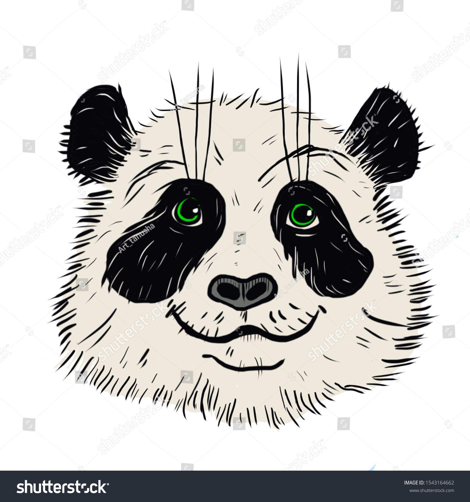 Panda Animal Cute Face Asian Panda Head Portrait Realistic Fur Bamboo Portrait Of A Funny Black And White Panda Animal Funny Animal Faces Animals Cute Faces
