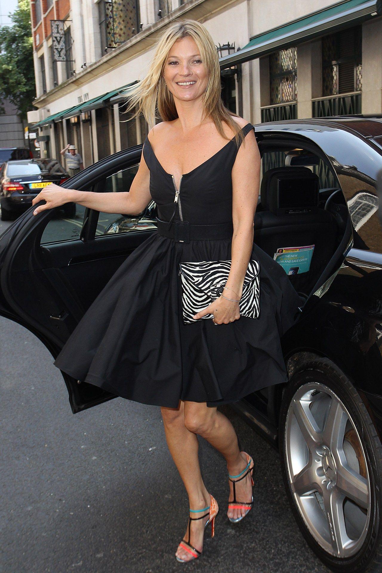 black dress/ cute, unique stripy heels
