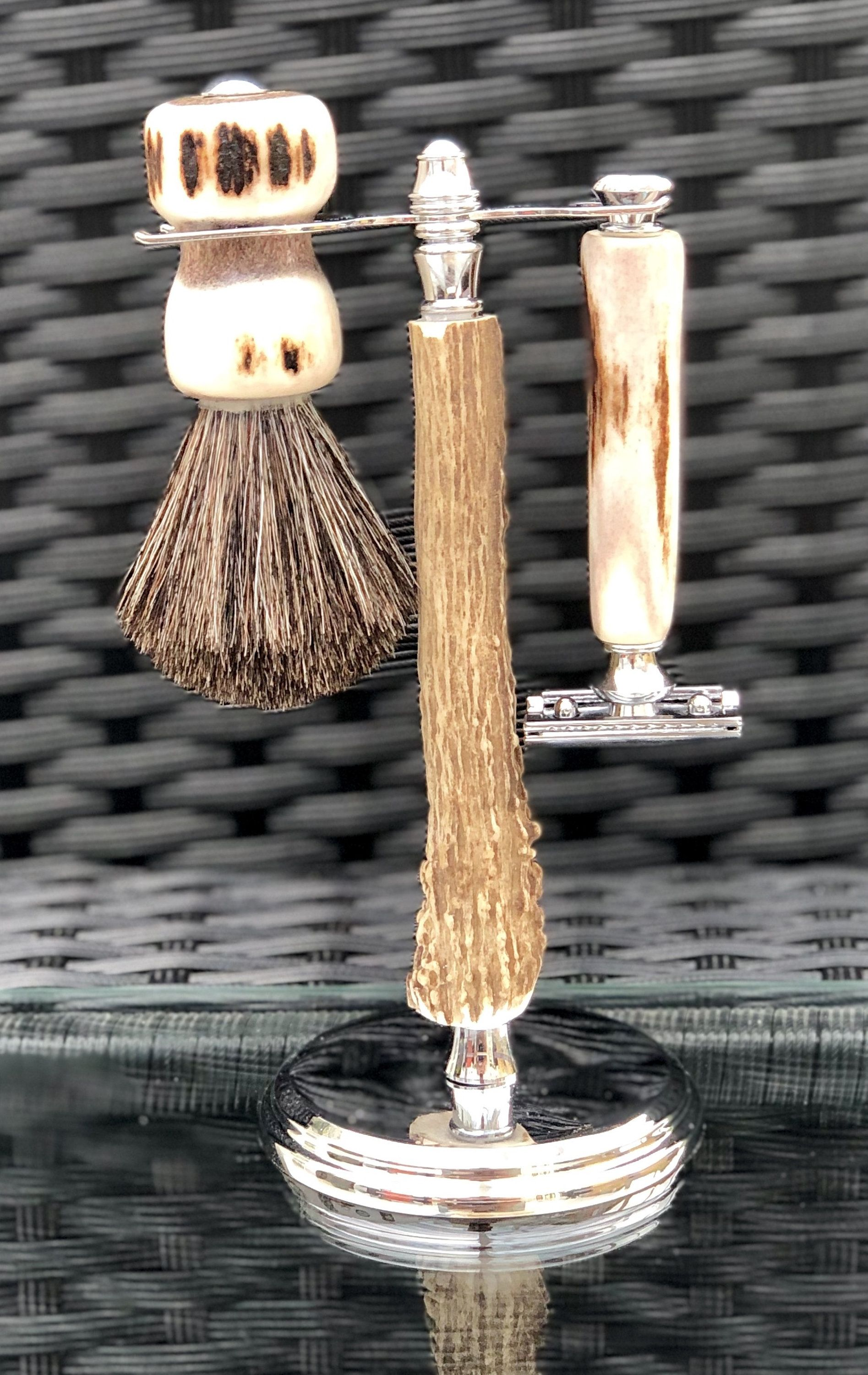 Handcrafted Red Deer Shaving Set with Chrome Accents and