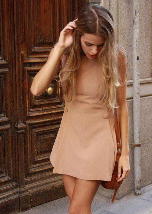 peach shift mini dress, street style