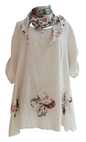 b7fb7c82b28 Ladies Womens Lagenlook Quirky Layering Floral Print Scarf Tunic Top Shirt  Cotton One Size Plus Loose