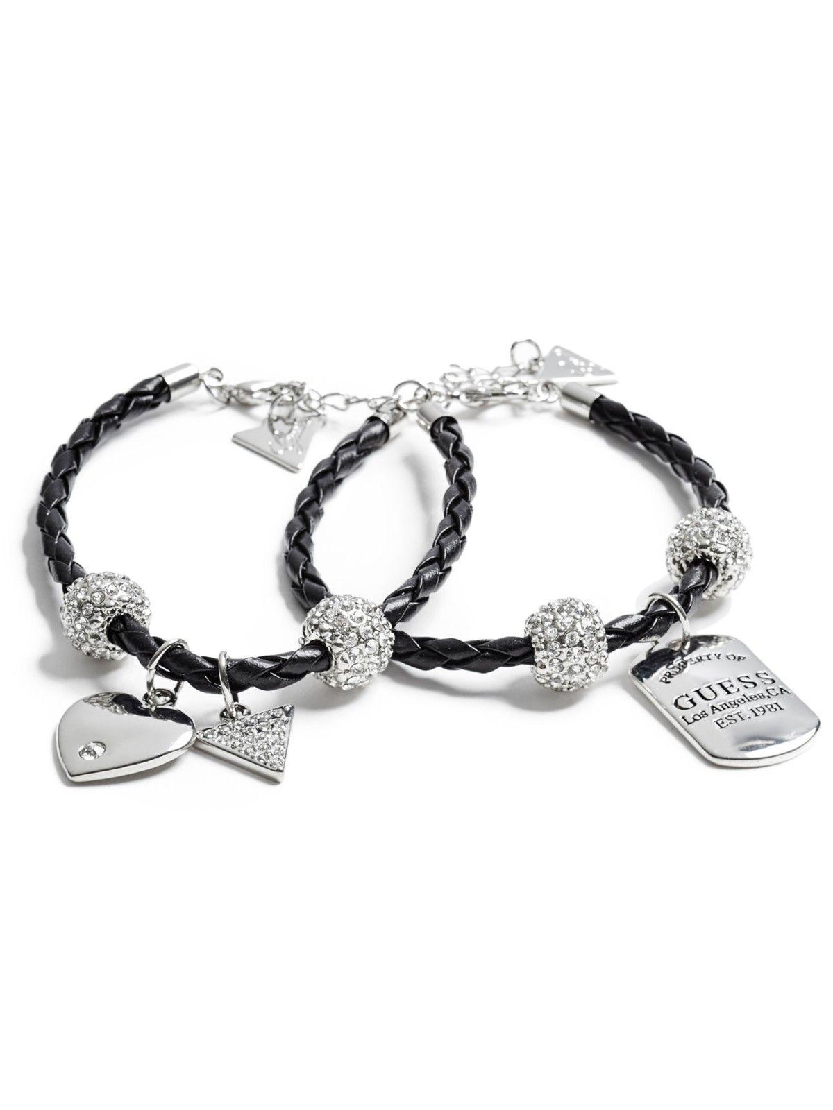 Silver-Tone Leather Bracelet Set