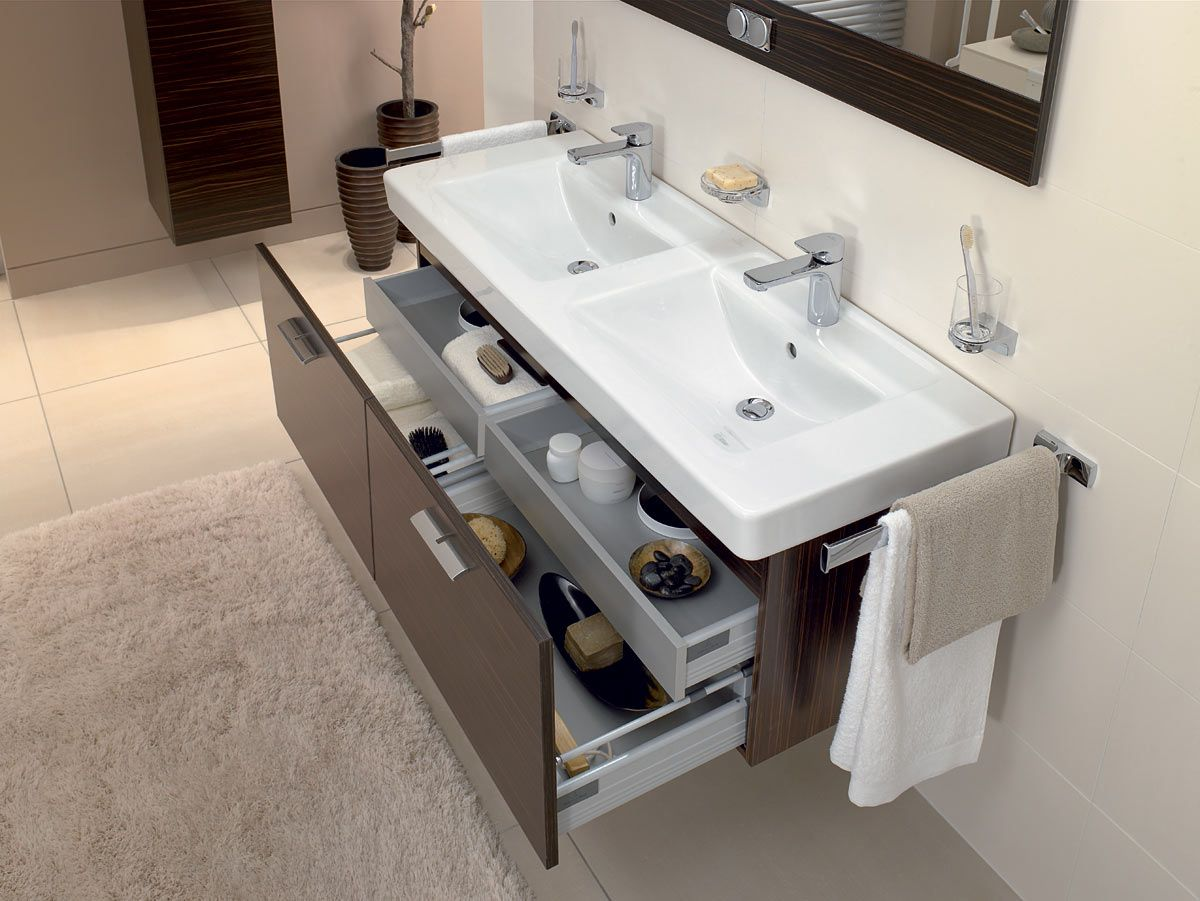 Epic Villeroy u Boch bathroom furniture Subway Basin with Central Line Maccasser Unit Click