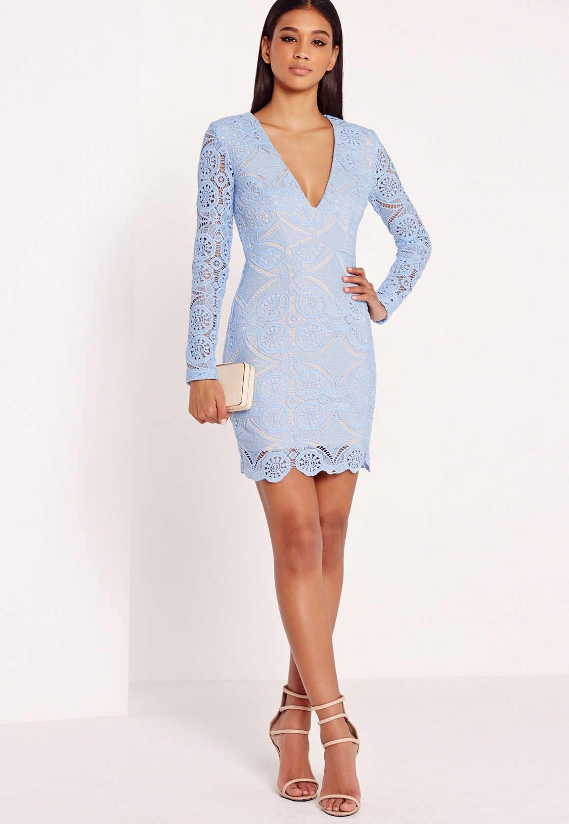 Missguided Lace Long Sleeve Bodycon Dress In Blue 56 Lace Bodycon Dress Long Sleeve Dresses Women S Evening Dresses [ 1680 x 1160 Pixel ]