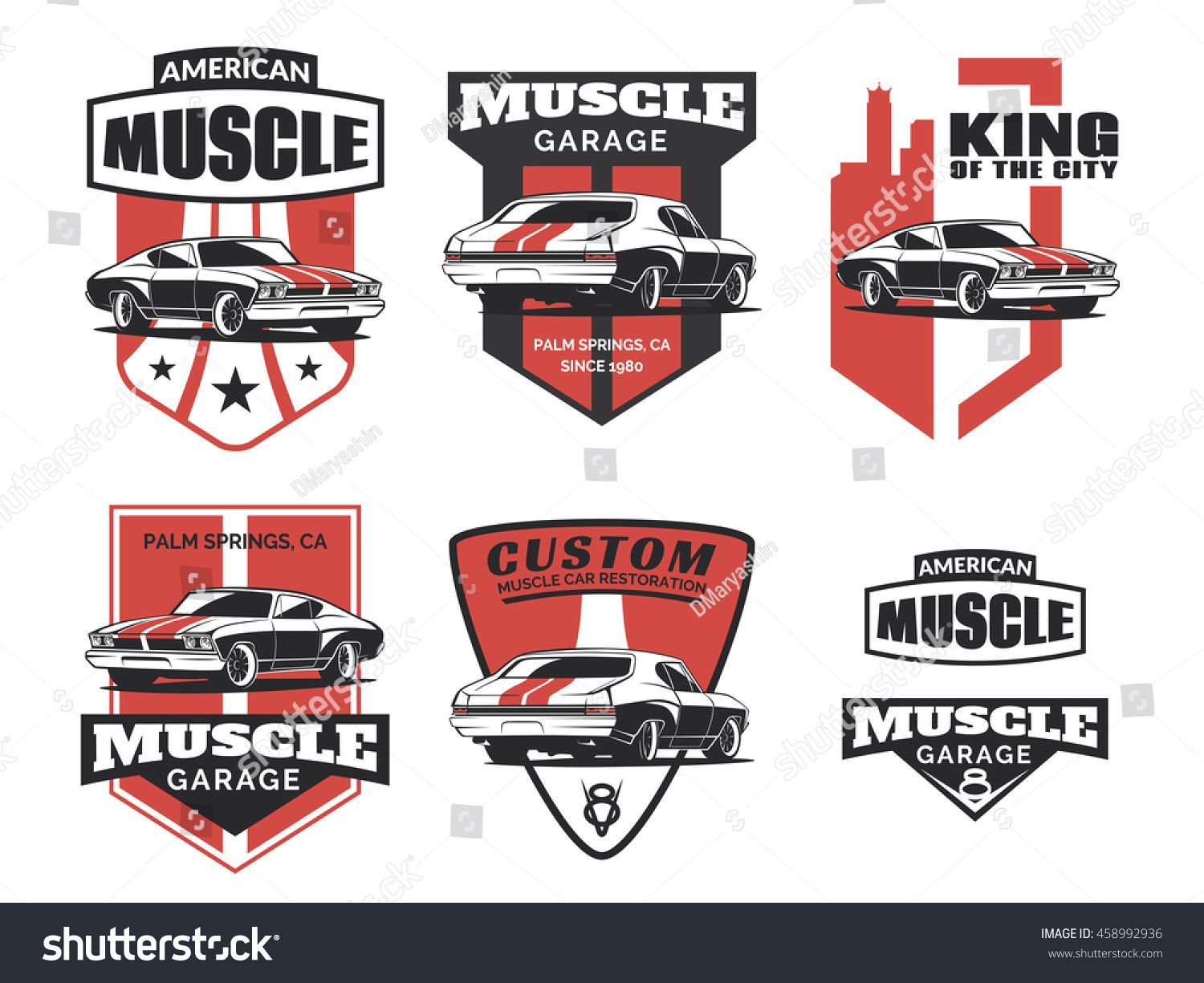 stock-vector-set-of-classic-muscle-car-logo-emblems-badges-and-icons ...