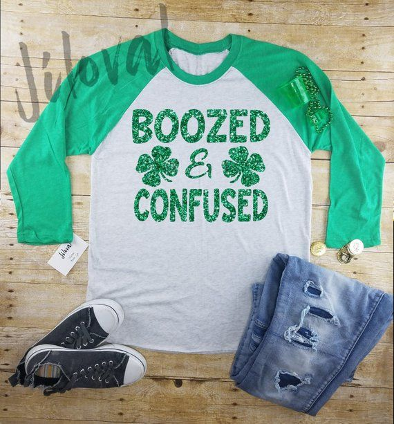 a5cf7761 st Patrick's day Women's long sleeve|Boozed and Confused|drinking tee|Irish  shirt