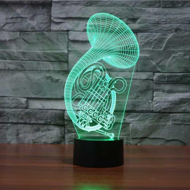 French Horn 3d Illusion Lamp 3d Illusion Lamp French Horn 3d Illusions