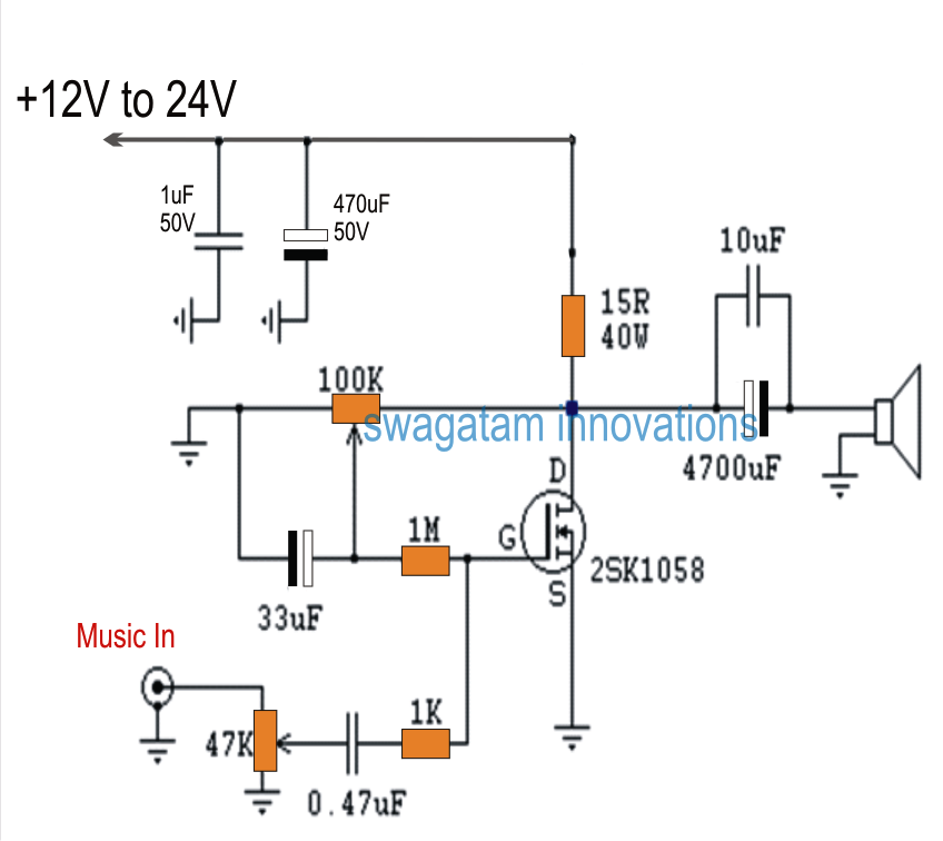 Single Mosfet Class A Power Amplifier | Homemade Circuit Projects ...