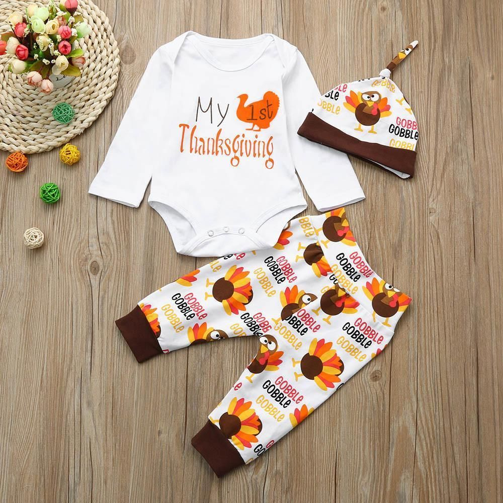 My First Thanksgiving Outfit Set Fashion Baby Outfit Set Thanksgiving Clothes