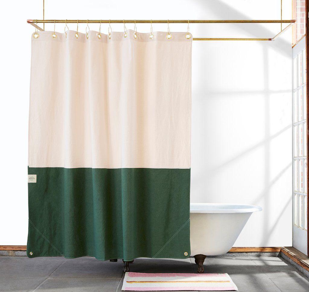 Orient Pine Color Blocked Canvas Shower Curtain Curtains