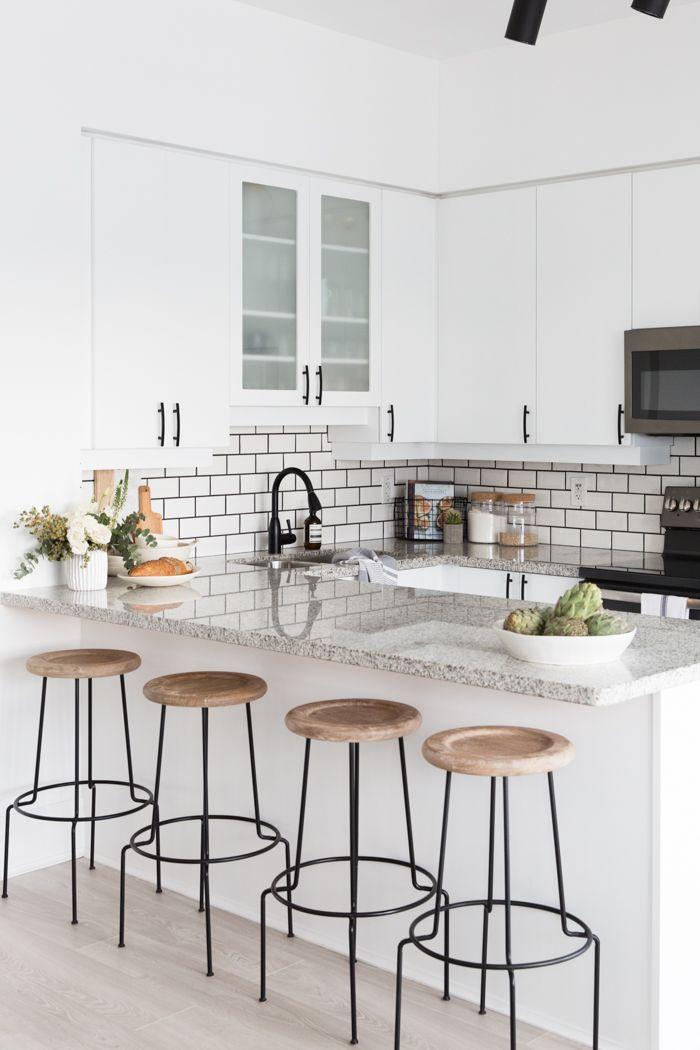 White Kitchen Stools black + white kitchen tour | condo | pinterest | kitchens, condo