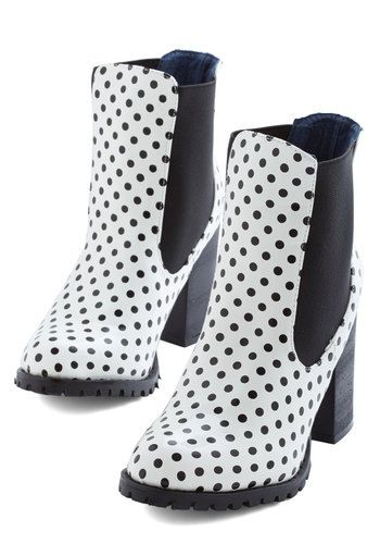 No Diggity, No Dot Bootie - High, Black, Polka Dots, Party, Vintage Inspired, 60s, Statement, Better, White