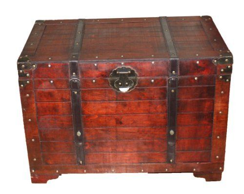 Old Fashioned Wood Storage Trunk Wooden Treasure Hope Chest By Quickway Imports 119 99 Material