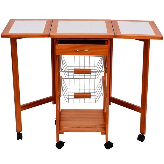 Homcom Folding Rolling Dining Kitchen Trolley Table Island Cart Alluring Rolling Kitchen Chairs Review