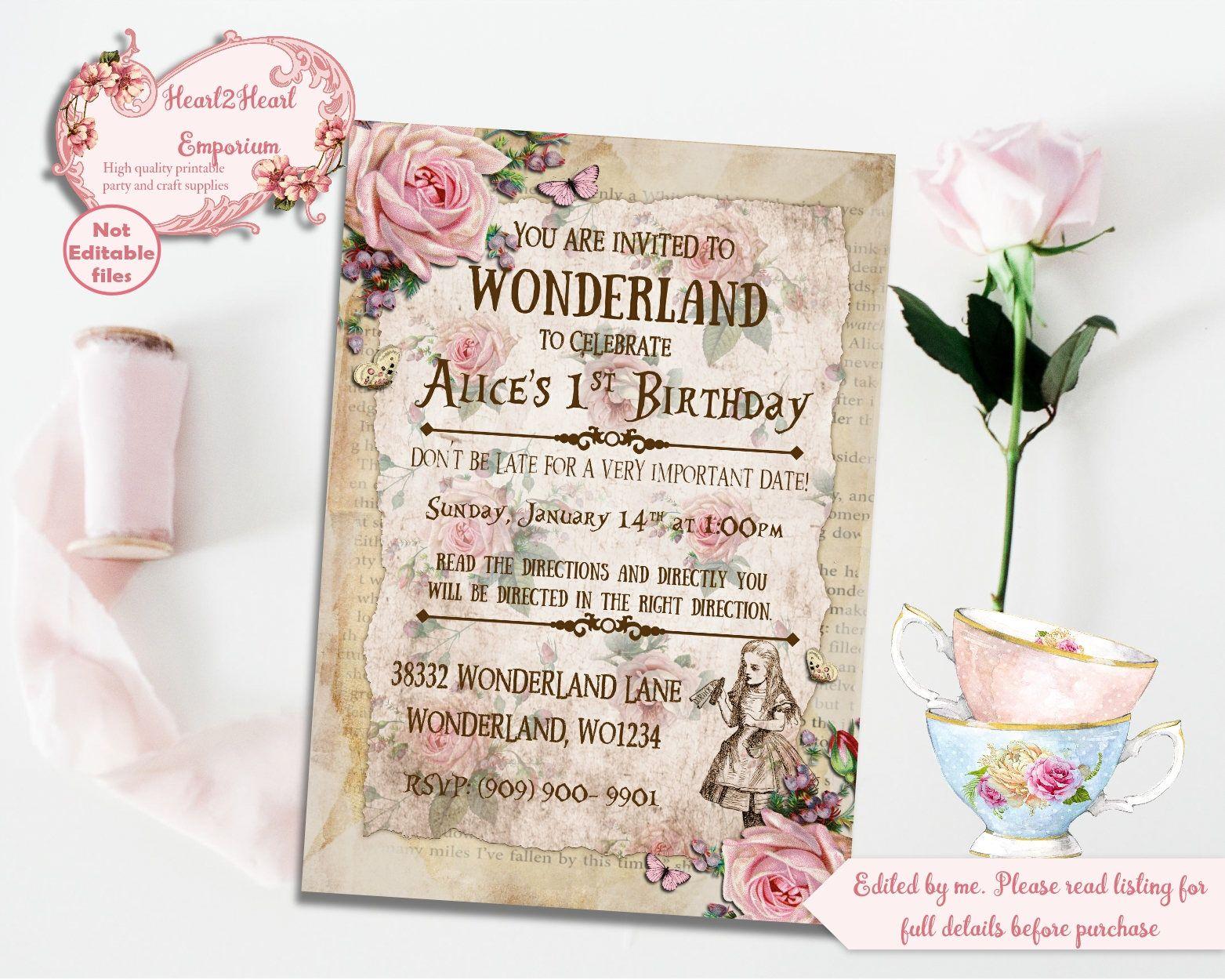 Alice in Wonderland Invitation, Birthday Invite, Digital Download ...
