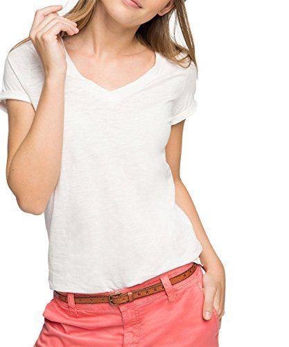 ESPRIT Damen T-Shirt mit V - Ausschnitt, Gr. 40 (Herstellergröße:
