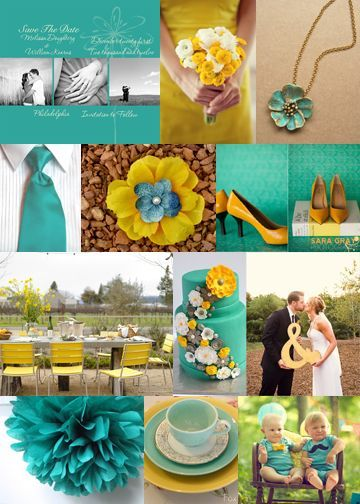 Gray Yellow And Turquoise Wedding Theme And The Bright And