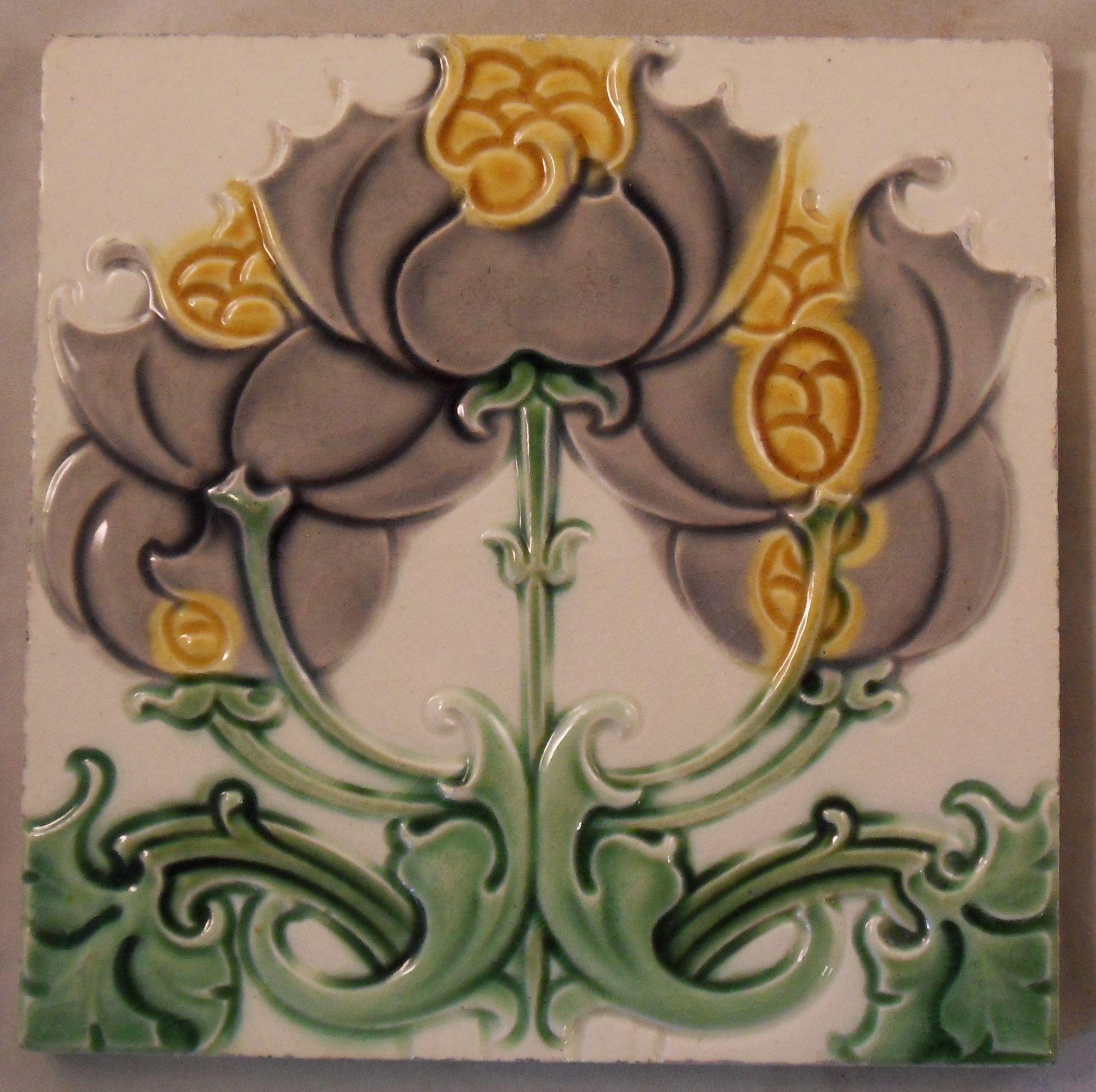 Rare Find A Art Nouveau Design From Craven Dunnill Co C1907 9 With Images Art Deco Tiles Ceramic Tile Art Tile Art