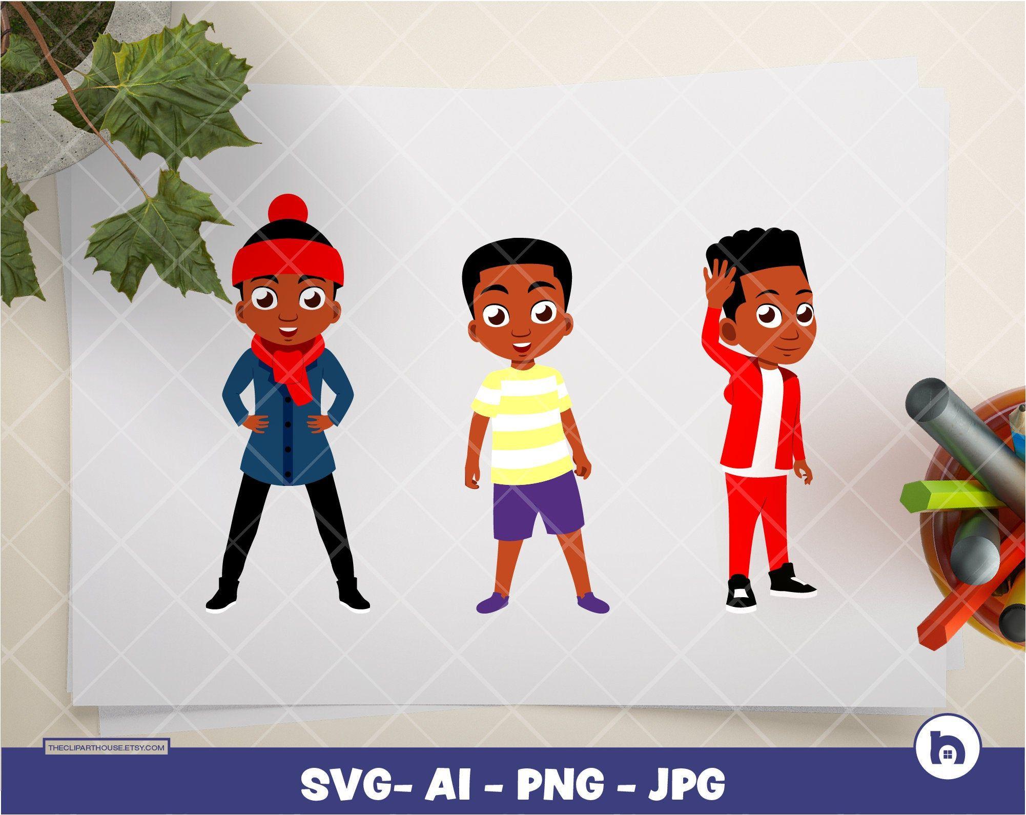 Black Kid Boy Bundle Digital Png Ai Svg Jpg Instant Etsy In 2021 Black Kids Png Kids Boys