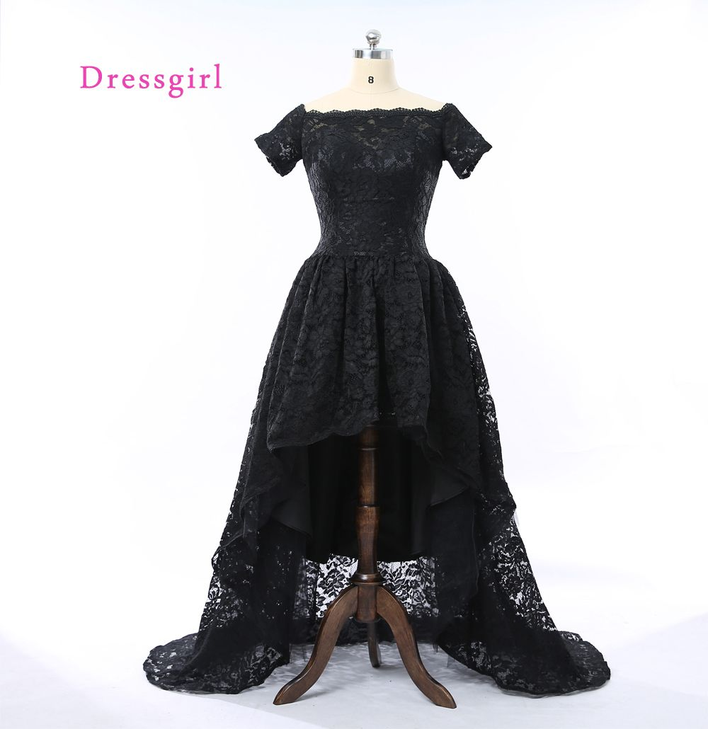 Click to buy ucuc black robe de soiree ball gown cap sleeves lace