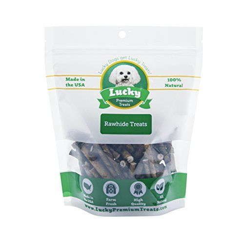 Beef Flavored Rawhide Dog Treats for Toy Size Dogs Made in the USA Only by Lucky Premium Treats, 5 lb -- Read more reviews of the product by visiting the link on the image.