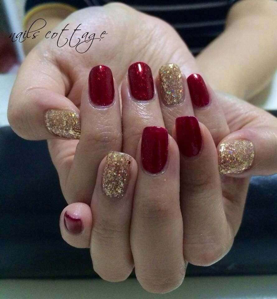 elegant nail design red and gold