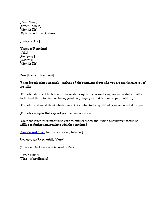 Download a free Letter of Reference Template for Word, view a sample ...