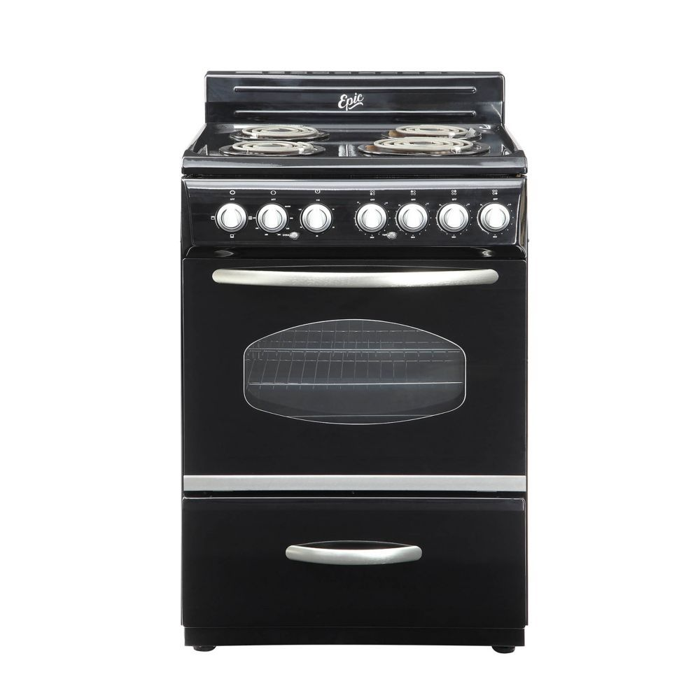 Home Depot 24 Inch Retro Style Electric Range In Black Retro Stove Vintage Stoves Electric Range