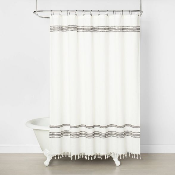 Embroidered Shower Curtain Railroad Gray Hearth Hand With