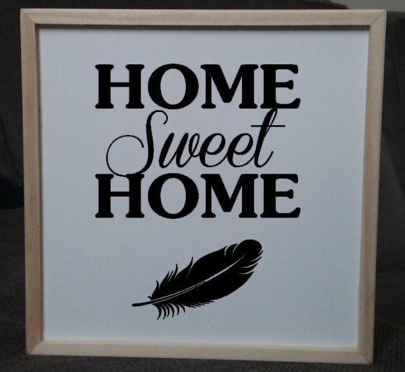 """Tableau en bois citation """"Home Sweet Home"""" 15x15cm"""