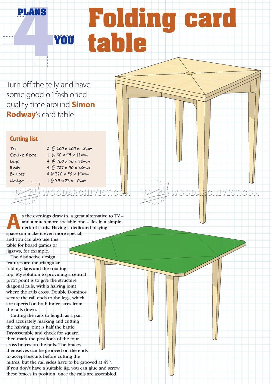 1501 Folding Card Table Plans Furniture Plans Table Plans Diy Table Table