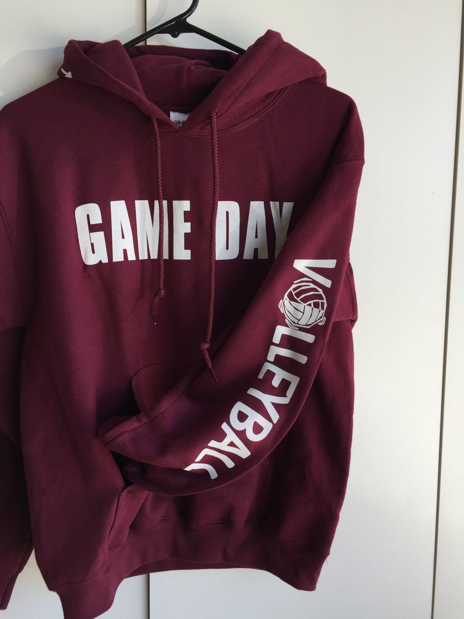 Game Day Hooded Volleyball Sweatshirt With Headband Bracelet And Hair Tie Volleyball Outfits Volleyball Sweatshirts Volleyball Shirts