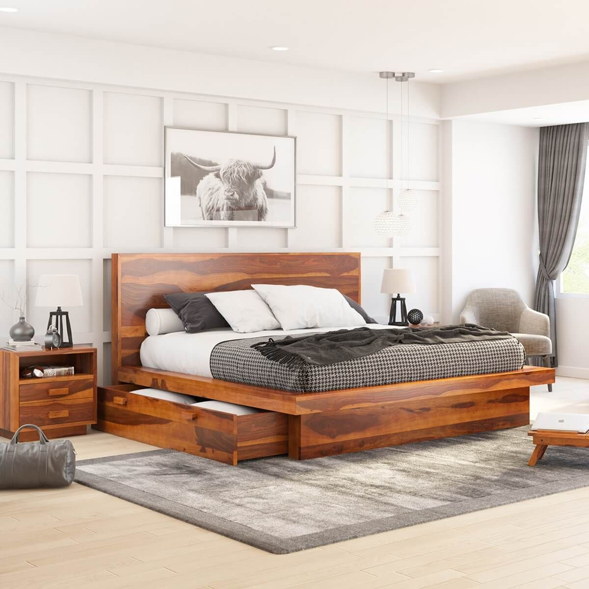 Best Brocton Rustic Solid Wood Low Height Storage Platform Bed 400 x 300