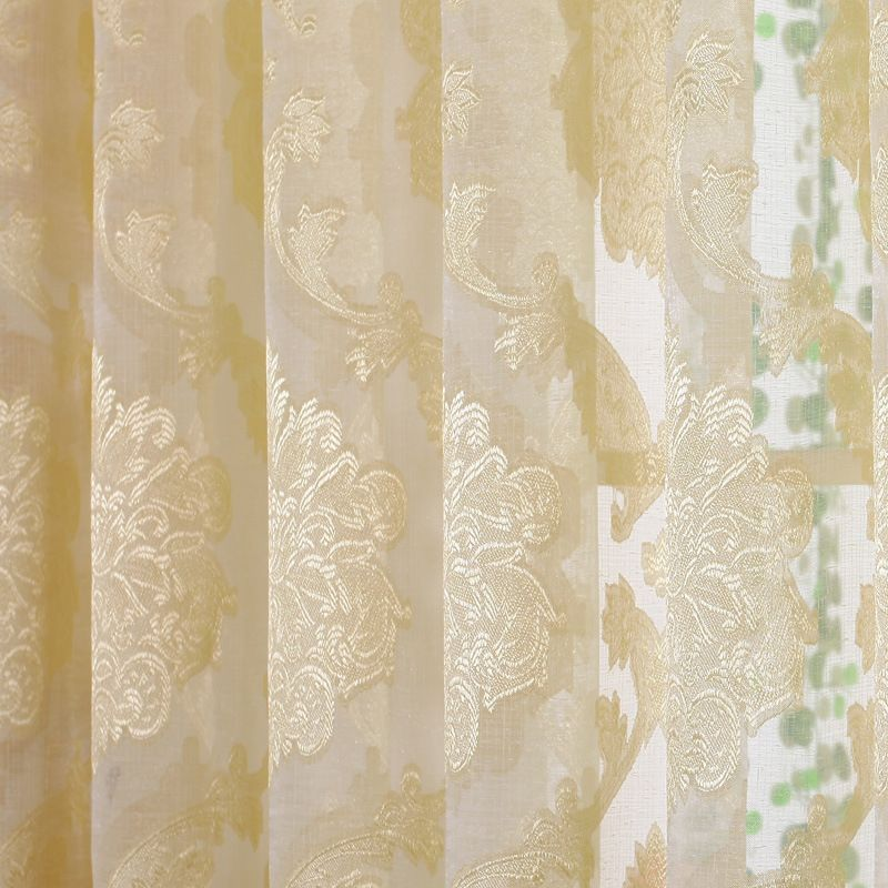 Byetee} Jacquared Yellow Window Curtains For Living Room Sheer Tulle ...