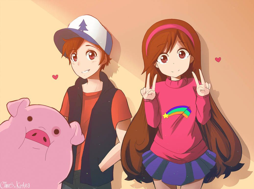 Gravity Falls Mabel Dipper And Waddles By Herrdeschaos Gravity