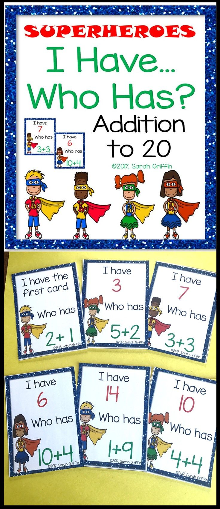 I Have, Who Has? Addition 020 Superheroes K2 Math