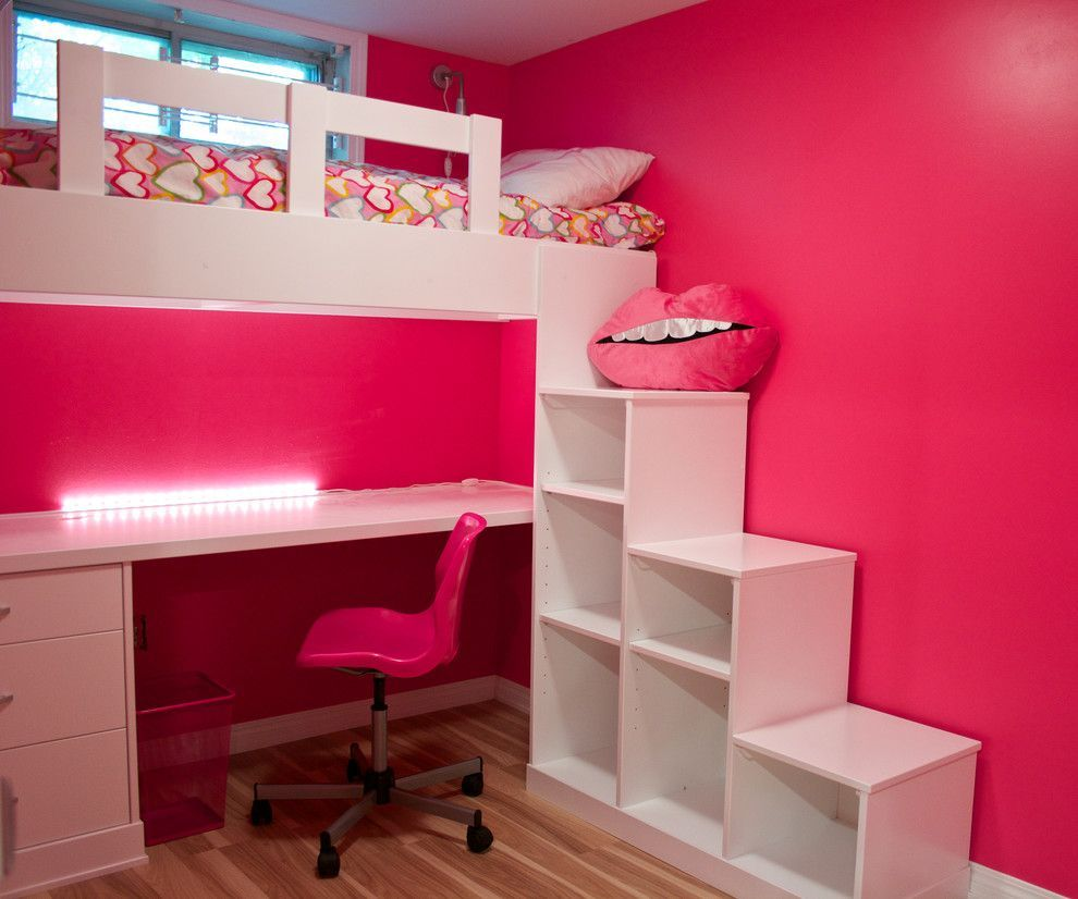 Cozy Kids Bedroom Using Bunk Bed Desk Combo Ideas Bedroom Wall Color For Girls Bedroom Design With Bunk Bed Desk Combo And Desk Chair Also Hardwood Flooring Wi Modern Kids Bedroom