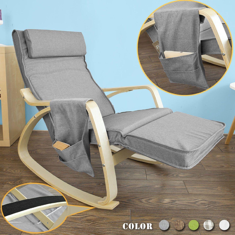SoBuy FST18 DG éponge plus épais Rocking Chair Fauteuil  bascule