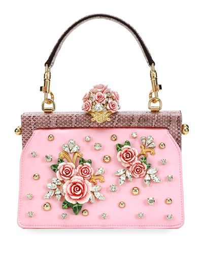 582f209b3739 DOLCE   GABBANA VANDA EMBELLISHED ROSE TOP-HANDLE BAG.  dolcegabbana  bags   lining  shoulder bags  crystal  hand bags  rayon  silk
