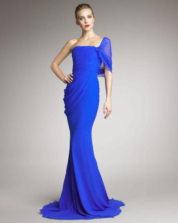 Jason Wu Cobalt Blue One Shoulder Evening Gown | Jason wu, Cobalt ...