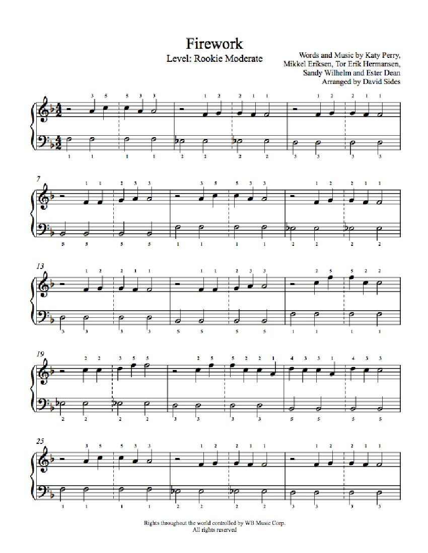 Firework By Katy Perry Piano Sheet Music Rookie Level Playground