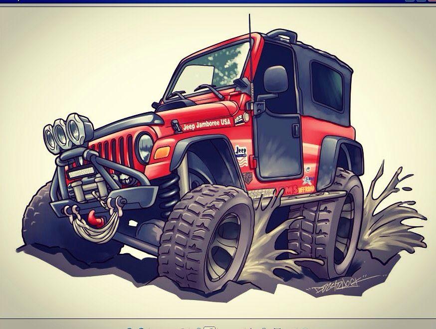 Jeep Wrangler Cartoon Commission By Dazzlarock Car Cartoon Jeep
