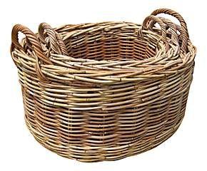 Set de 4 cestas ovales en mimbre - natural