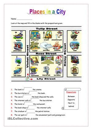 This worksheet aims to practise places in a city as well as ...