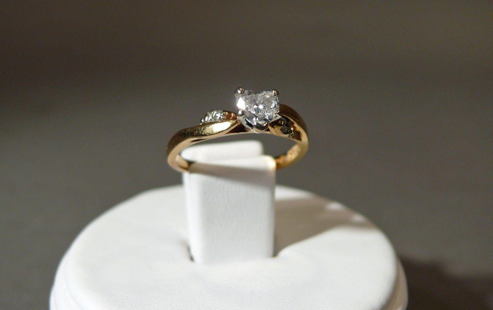 #2 Fine Estate 14k Yellow Gold Heart Cut Diamond Engagement Ring Sz 675